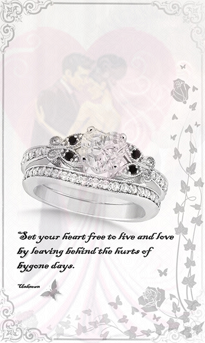 Black and White Diamond Heart Butterfly Bridal Set 14k White Gold 0.96ct by Allurez