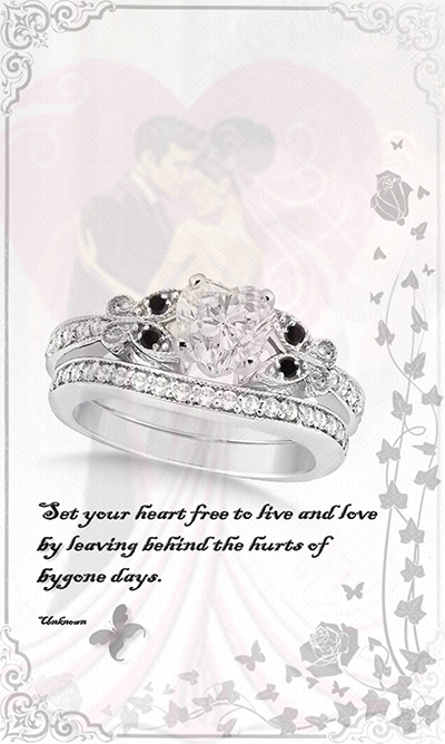 Black and White Diamond Heart Butterfly Bridal Set 14k White Gold 1.21ct by Allurez