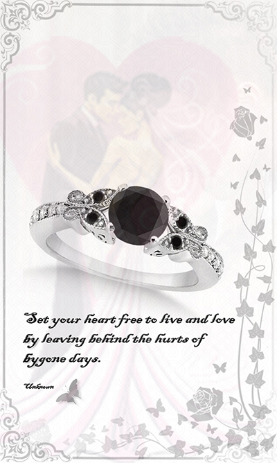 Butterfly Black and White Diamond Engagement Ring 18k White Gold .92ct) by Allurez