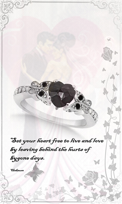Butterfly Black and White Diamond Heart Engagement Ring 14K W Gold 1.3ct by Allurez