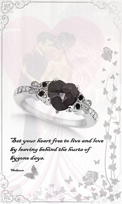 Butterfly Black and White Diamond Heart Engagement Ring 14K W Gold 1.67ct by Allurez