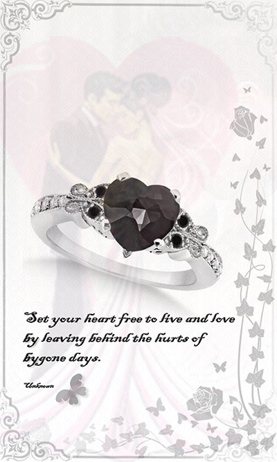 Butterfly Black and White Diamond Heart Engagement Ring 14K W Gold 2.42ct by Allurez