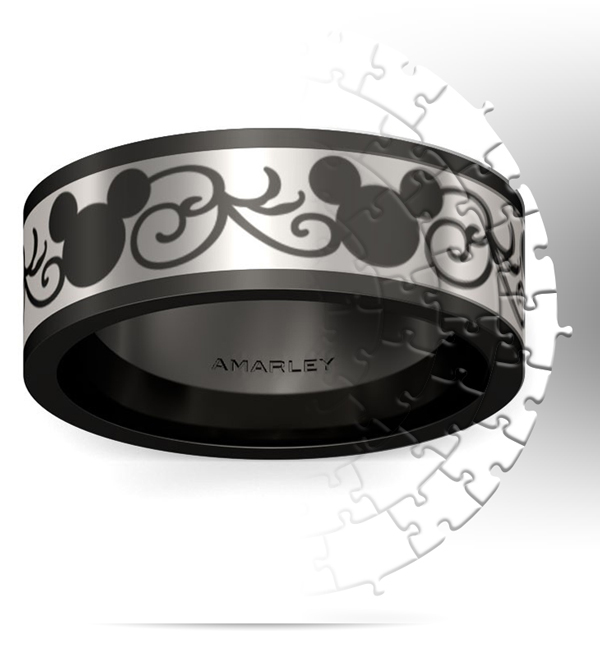 Amarley Black Range - Black Mouse With Cirrus Titanium Steel Men's Ring