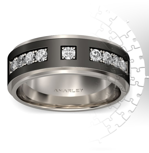 Amarley Black Range - Black Titanium Steel Round Cut White CZ Men's Ring