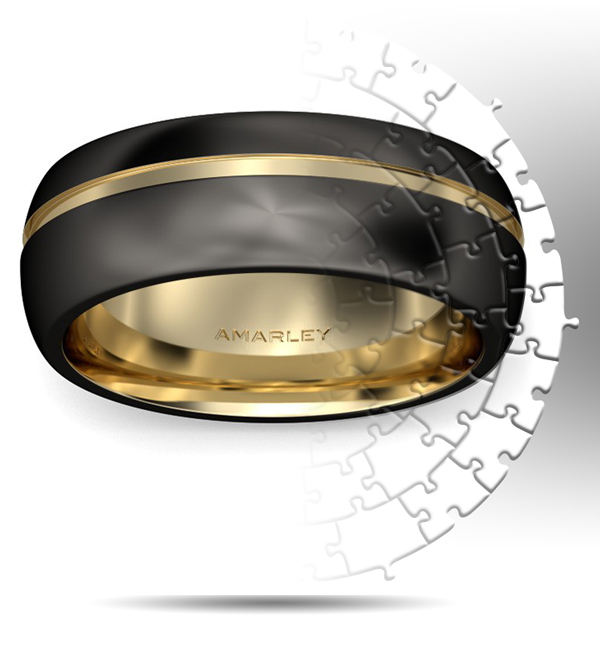 Amarley Black Range - Dull Polish Two-tone Titanium Steel Men's Ring