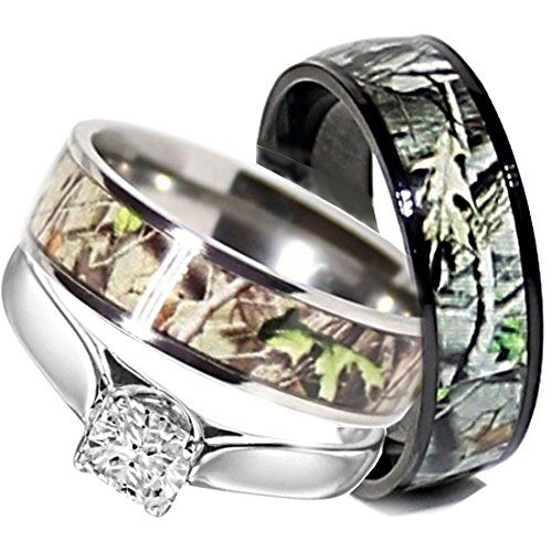 a special insert on camo rings - His And Her Camo Wedding Rings