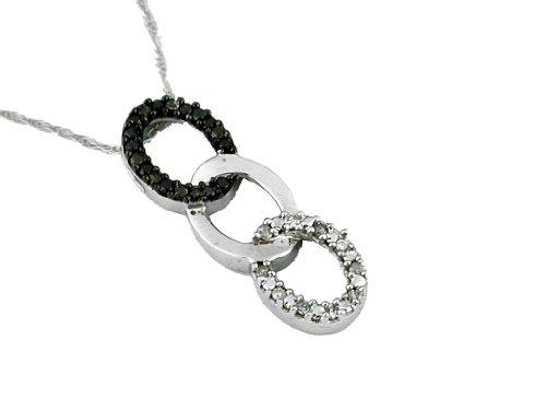 White Diamond & Black Diamond Pendant in 14K White Gold