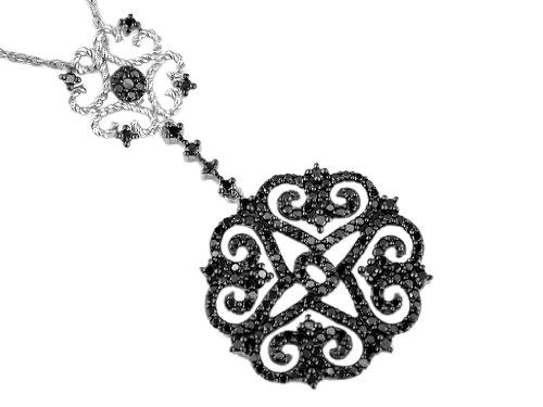 Black Diamond Pendant in 14K White Gold