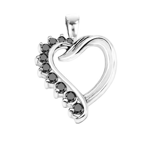 14k White Gold Heart Shaped Pendant with Chain set with Black Diamonds