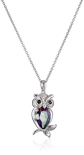 black diamond owl pendant