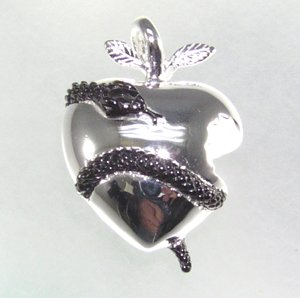 Stunning black rhodium finish heart pendant with snake biting apple. This fantastic heart necklace says she has a piece of your heart.