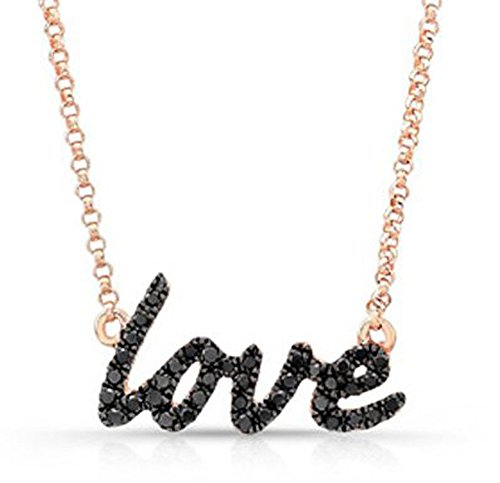 14K Rose Cursive Love Black Diamond Necklace by Coby Madison