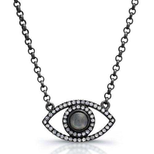 Sterling Silver Diamond and Moonstone Evil Eye Necklace micro prong set with fifty-seven sparkling white diamonds 0.34cts. This unique evil eye diamond necklace is finished with black rhodium for a vintage appeal.