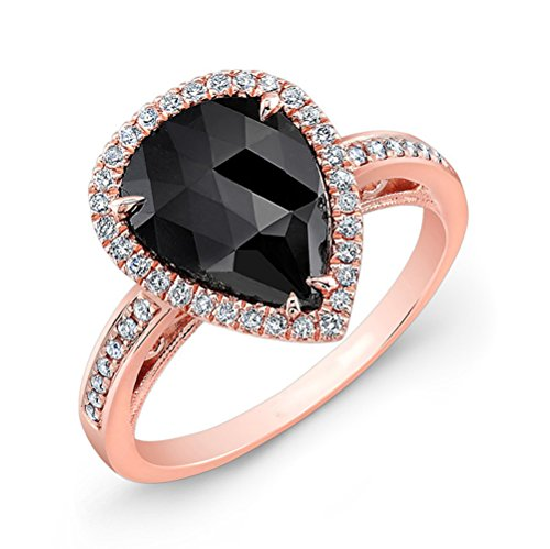 This Coby Madison black diamond ring will add a polished touch with a 1.12 carat pear shape gleaming black diamond is set in white gold 40 round white diamonds weighing 0.24 carats.